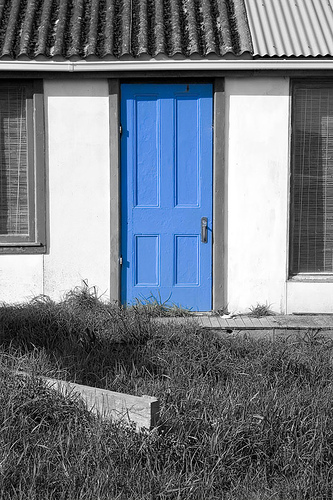 Blue painted panel door